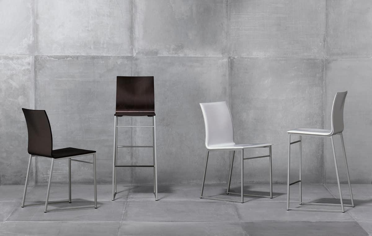 MELISSA A15, Silla de metal con asiento en cuero regenerado