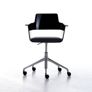B32 office PRO, Silla de oficina con ruedas, asiento brillante nylon y la espalda, giratorio y ajustable en altura