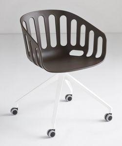 Basket Chair UR, Silla giratoria con base de aluminio de 4 estrellas con ruedas