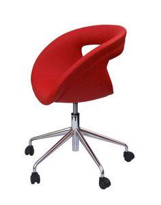 Moema pelle 75 5R, Silla de oficina con asiento de cuero, con ruedas