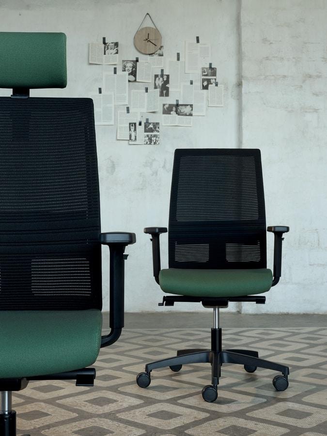 Omnia Plus 01 PT, Silla de oficina de trabajo con respaldo de malla