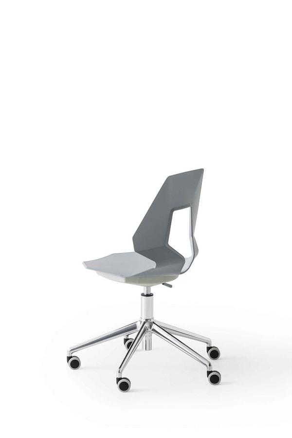 Prodige 5R, Silla de oficina moderna con ruedas, en metal y polímero