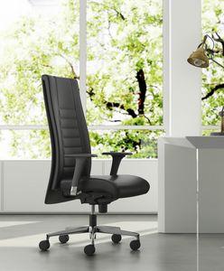 TAIT, Sillón ejecutivo, base y reposabrazos en aluminio, ajustable