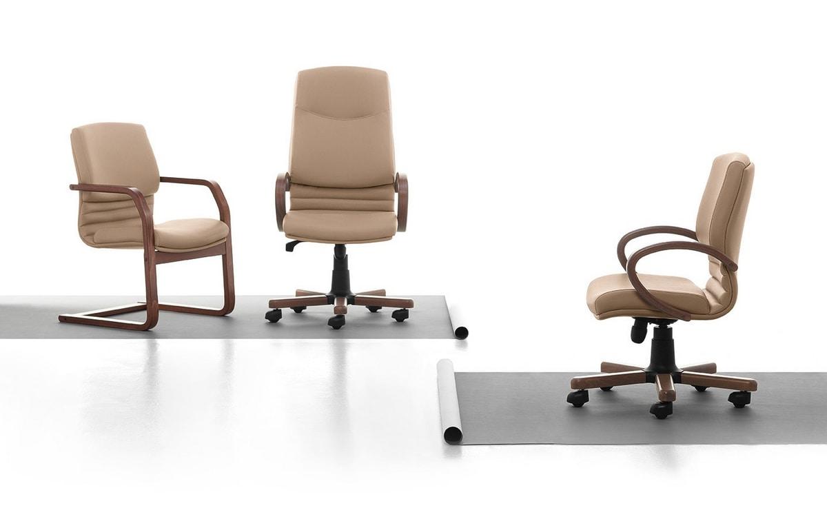 Digital WD 02, Silla ejecutiva, base de madera, para la oficina