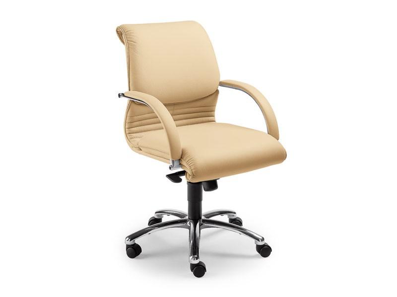Elegance executive 2856, Silla de cuero sobre ruedas para oficina, elevación de gas