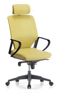 Karina Soft 01 PT, Silla ejecutiva con reposacabezas ajustable, para la oficina