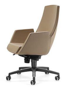 NUBIA 2918, Silla sobre ruedas, reclinables con respaldo alto, para la oficina