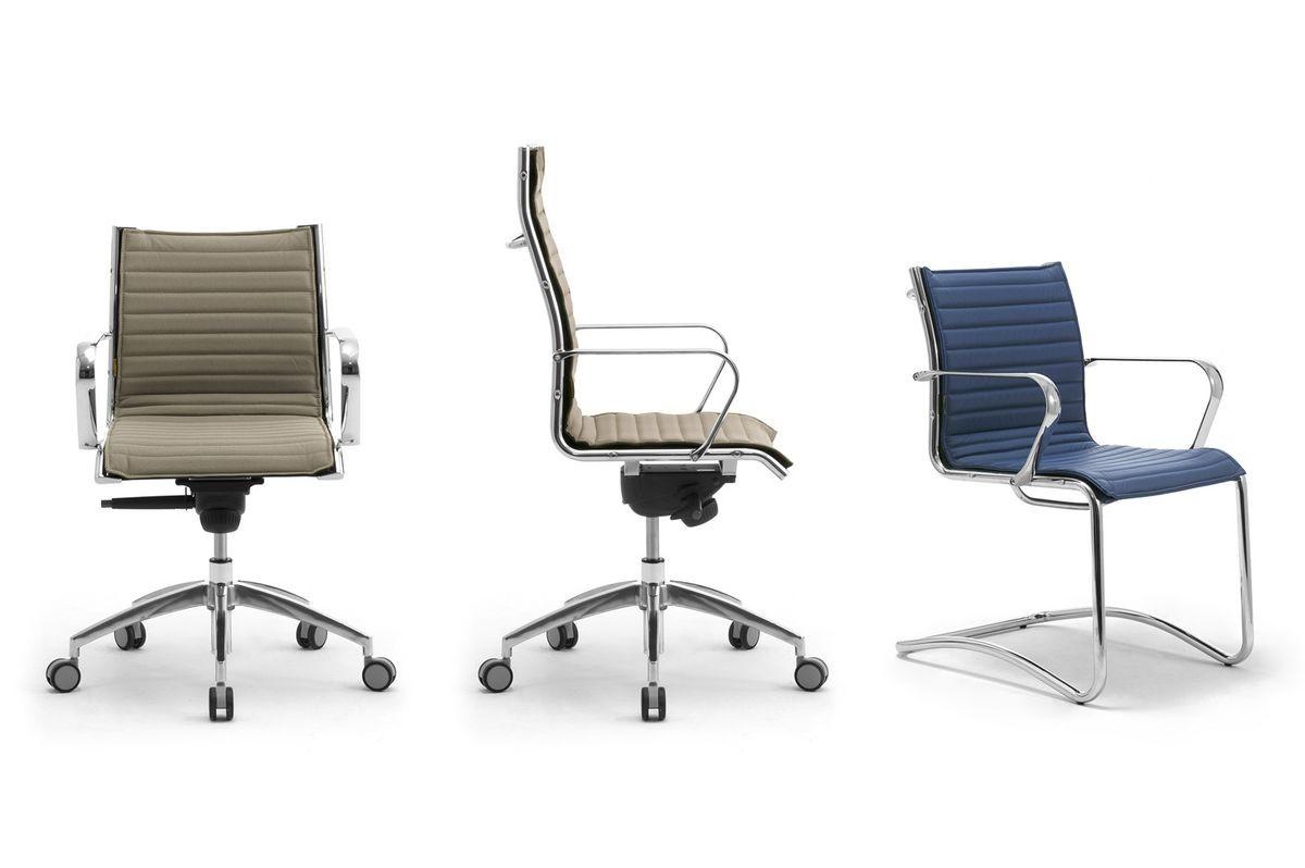 Origami IN executive 70120M, Silla de oficina de cuero con estructura de acero cromado