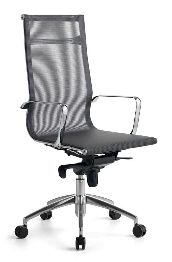 Wind 01, Silla de oficina con ruedas, con malla cubierta autoportante