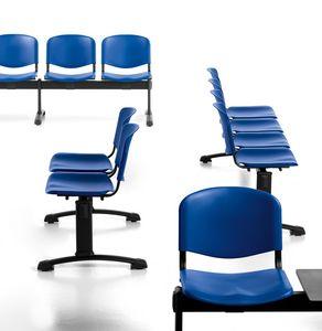 Leo Plastic Bench, Bancos de espera con asientos y respaldos en polipropileno.