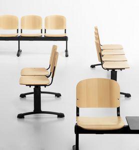 Leo Wood Bench, Bancos de espera con asiento de madera