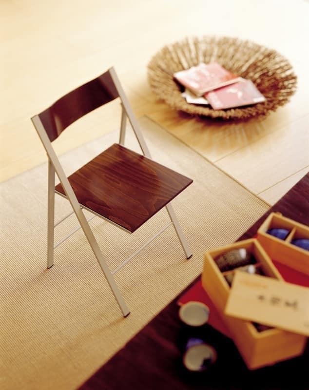 Pocket wood, Silla plegable con estructura de metal, para la cocina