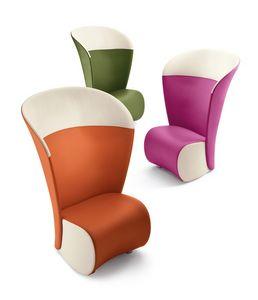 Koccola Plus, Alto sillón hacia atrás, varios colores, para sala de espera