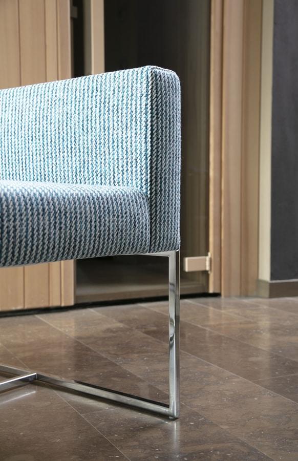 Square armchair, Sillón moderno con tubo cuadrado, para el uso del contrato
