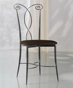 Klimt chair, Silla de metal, asiento de cuero, para el lado exterior