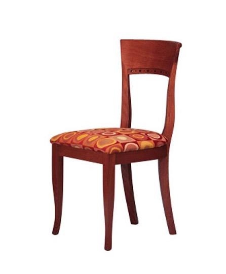 440, Silla de madera de haya sencilla, asiento tapizado, de hotel
