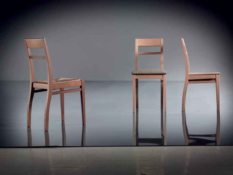 ART. 134 HARMONY, Silla de madera de haya sencilla, asiento tapizado, para sala de estar