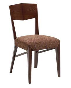 C31, Silla de madera con asiento acolchado, cubierto de tela, para el uso del contrato