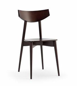 DAYANA madera, Silla con asiento de madera, para cocina y bar