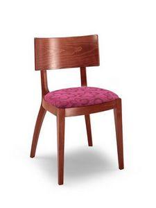Francesca, Silla de madera lineal, con asiento acolchado