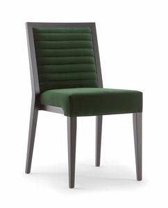 GINEVRA SIDE CHAIR 031 S, Silla de madera maciza, con asiento y respaldo tapizados