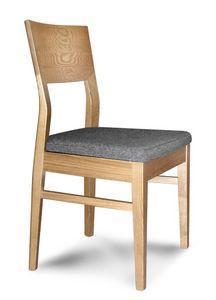 Giorgia S, Silla de madera lineal con asiento acolchado, para los restaurantes