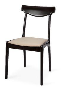 Giuly, Silla moderna en madera de haya, asiento tapizado, para los restaurantes