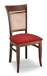 Gloria INC, Silla en madera de haya, asiento tapizado y la caña de vuelta