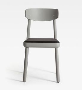 Isa, Silla de madera moderna, asiento acolchado