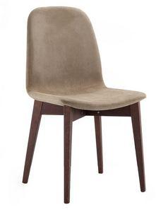 Katty, Silla acolchada tapizado en tela, patas de madera