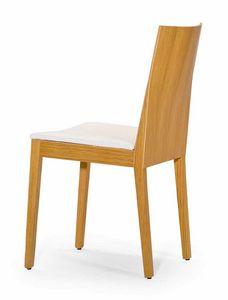 Luna UPH seat, Silla de madera con formas estrictas