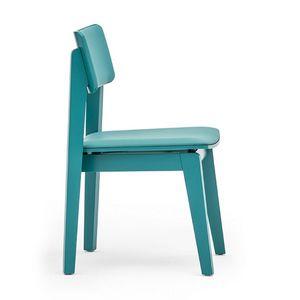 Offset 02813, Silla de madera maciza, asiento y respaldo tapizados