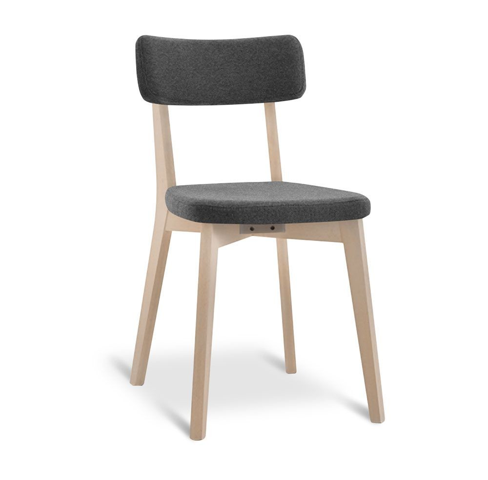 Silla de madera de haya, asiento y respaldo tapizados, para los ...