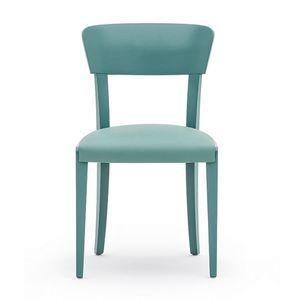 Steffy 00411, Silla de madera maciza, asiento tapizado, estilo moderno