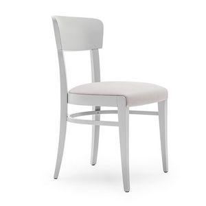 Steffy 00412, Silla de madera maciza, asiento y respaldo tapizados, por contrato y uso doméstico