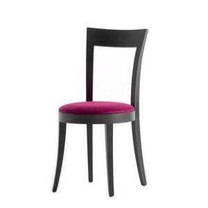 Vienna 01311, Silla de madera maciza, asiento tapizado, cubierta de tela, para el uso del contrato