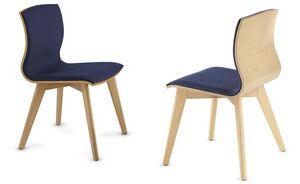 WEBWOOD 357Y, Silla de madera con asiento tapizado