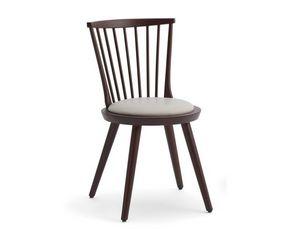 Isolda-S, Silla de madera con asiento acolchado redondo