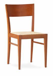 TEA, Silla lineal rústica con asiento de paja tejida