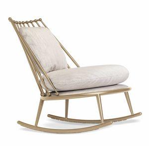 Aurora silla mecedora de respaldo de hierro, Sillón mecedora en hierro, asiento acolchado con goma 2 Densidad