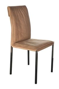 Borso top cromado negro, Silla de metal con asiento tapizado adecuado para los comedores modernos