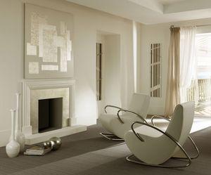 Camilla sillón, Metal moderno Sillón mecedora, acolchado de goma