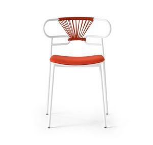 ART. 0047-MET-CROSS-IM GENOA, Silla apilable de metal con asiento acolchado