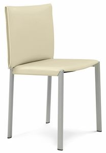 Bilbao silla de 10.0120, Silla de metal, con asiento de cuero.