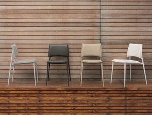 HAPPY SE173, Silla de metal con asiento y respaldo upholsterd