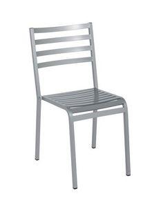 Art.Macrì Outdoor silla, Silla de metal para la decoración al aire libre, listones horizontales