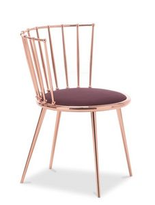 Aurora silla de respaldo barrotes, Silla de metal con asiento acolchado