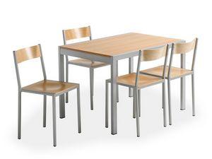 Do chair, Silla de metal con asiento de madera, de cantina