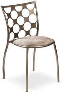 Julie cerchi con asiento acolchado, Silla de metal con asiento acolchado