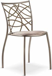 Julie silla con asiento acolchado, Silla apilable de metal